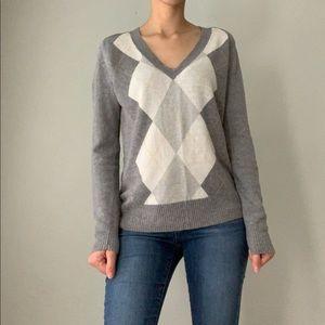 J. Crew Women's Gray Wool Blend V Neck Sweater M